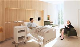 Visualisering af de nye sengestuer der bliver til lyse patientværelser på barselsafsnittet.